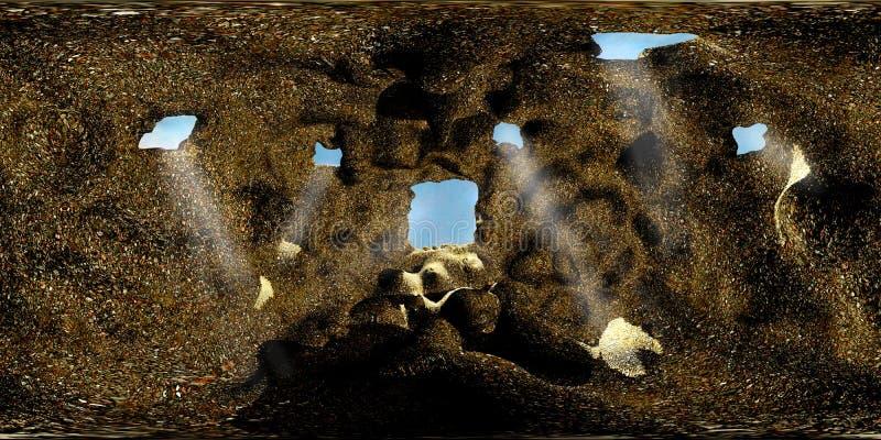 HDRI-översikt av grottan stock illustrationer