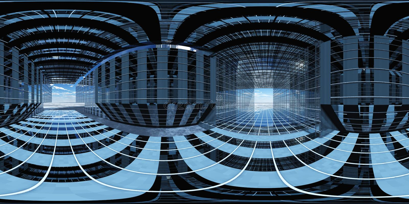 HDRI, Equirectangular projekcja, Bańczasta panorama , środowisko mapa royalty ilustracja