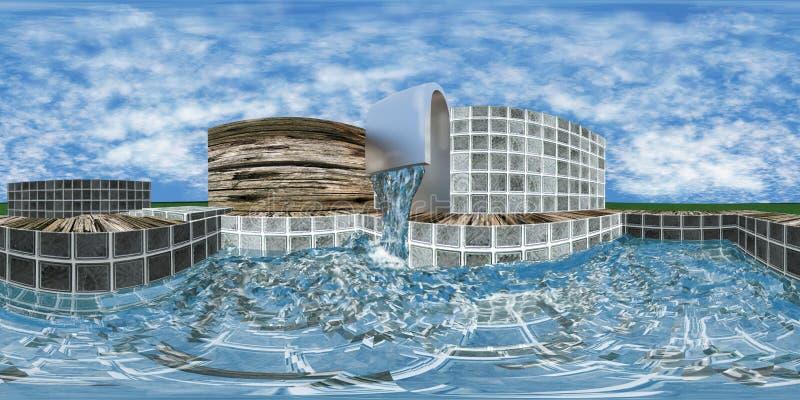 Hdri mapa z basenem ilustracji