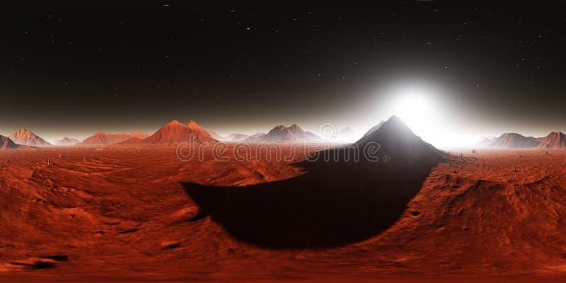 360 HDRI-Panorama von Mars-Sonnenuntergang Marslandschaft, Umweltkarte Equirectangular-Projektion, kugelförmiges Panorama lizenzfreie abbildung