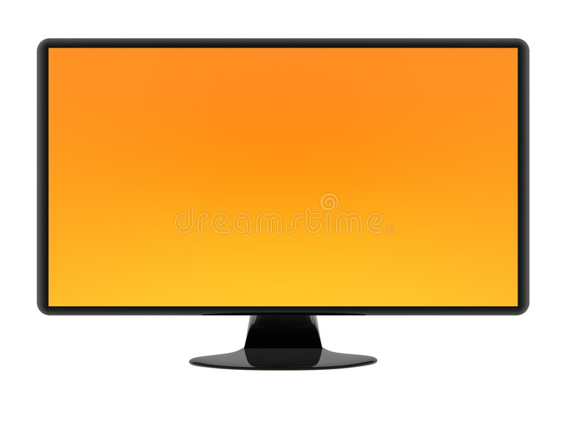 HDTV. Isolated on white background. Orange background can be easily replaced royalty free illustration