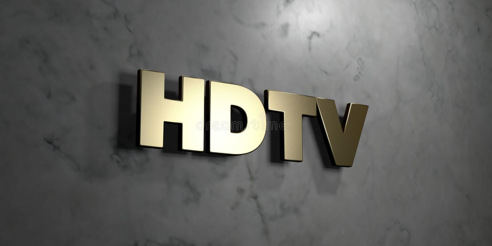 Hdtv - Gold sign mounted on glossy marble wall - 3D rendered royalty free stock illustration. This image can be used for an online website banner ad or a print vector illustration
