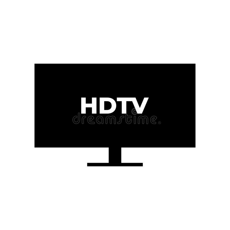 HDTV graphic design template vector. Illustration television icon video technology media screen digital display symbol modern computer monitor flat isolated vector illustration