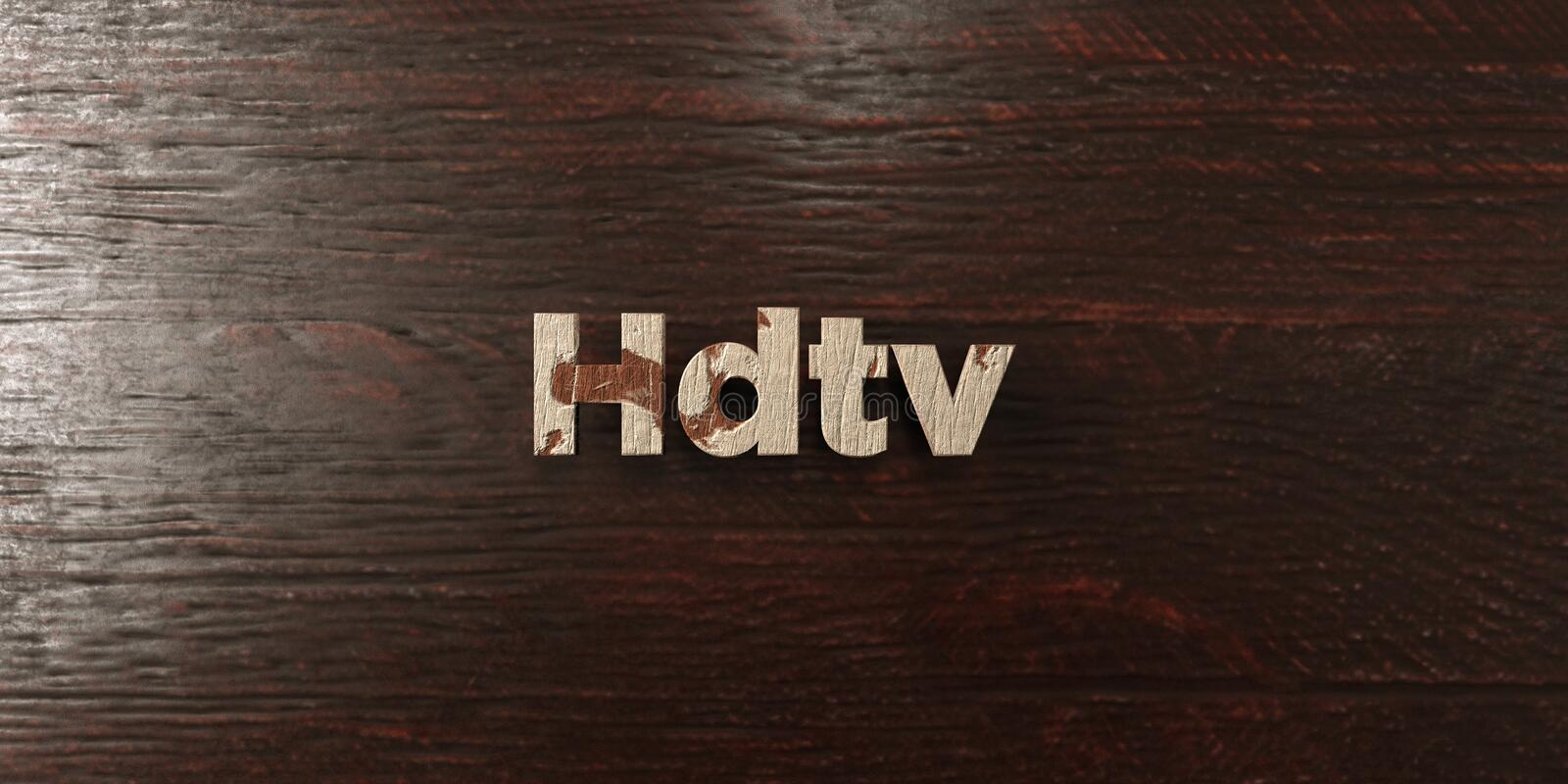 Hdtv - grungy wooden headline on Maple - 3D rendered royalty free stock image. This image can be used for an online website banner ad or a print postcard vector illustration