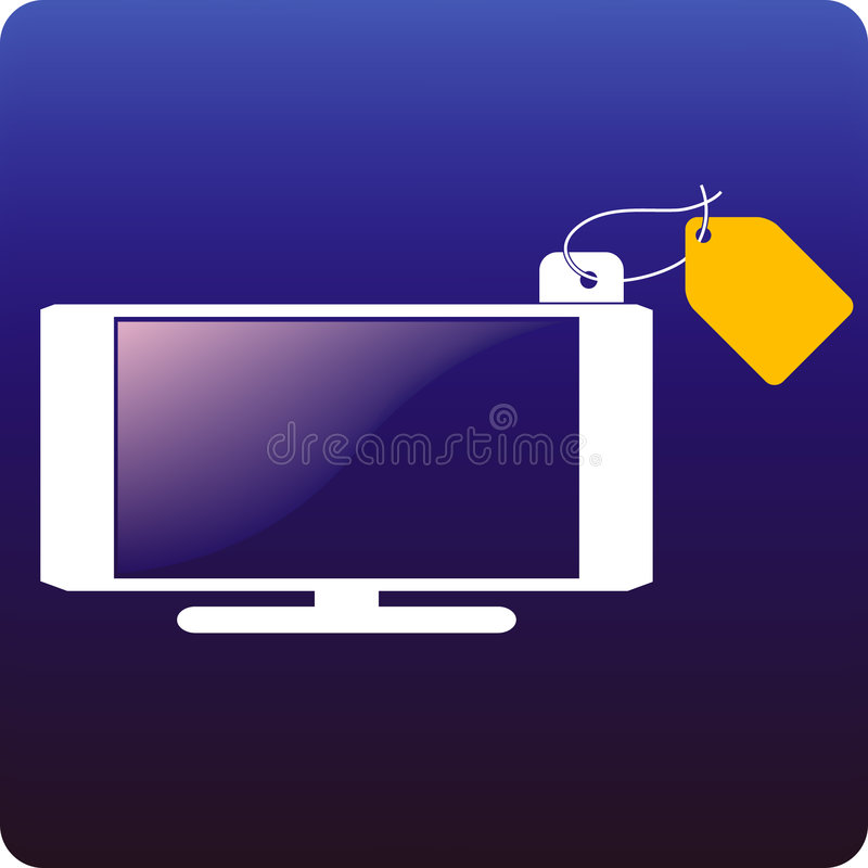Hdtv price. Hdtv with a price tag attached royalty free illustration