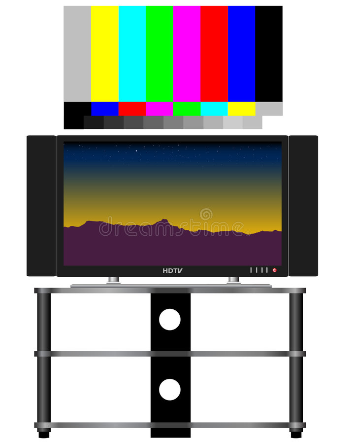 HDTV and Test Pattern. HDTV and real 16x9 video test pattern, color-correct royalty free illustration