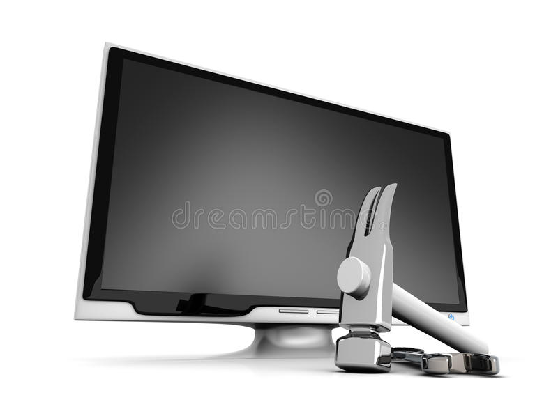 HDTV Tools. 3D rendered Illustration. Tools for a HDTV vector illustration