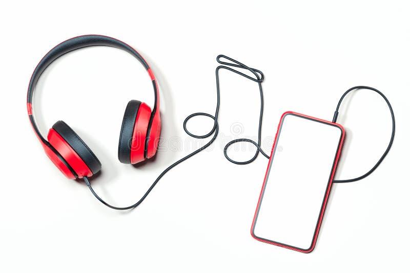 Hełmofony i telefon komórkowy Muzykalna notatka robić słuchawka drut świadczenia 3 d ilustracja wektor