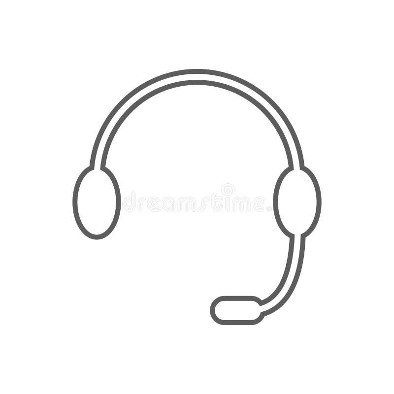 Hełmofony z mikrofon ikoną Element finanse dla mobilnego pojęcia i sieci apps ikony Kontur, cienieje kreskową ikonę dla strony in ilustracji