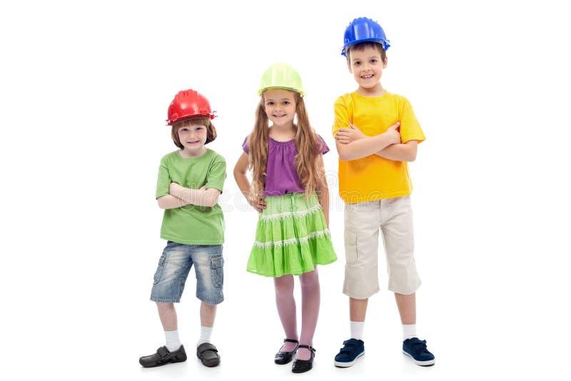 hełmów dzieciaków target3375_0_ ochronny fotografia stock