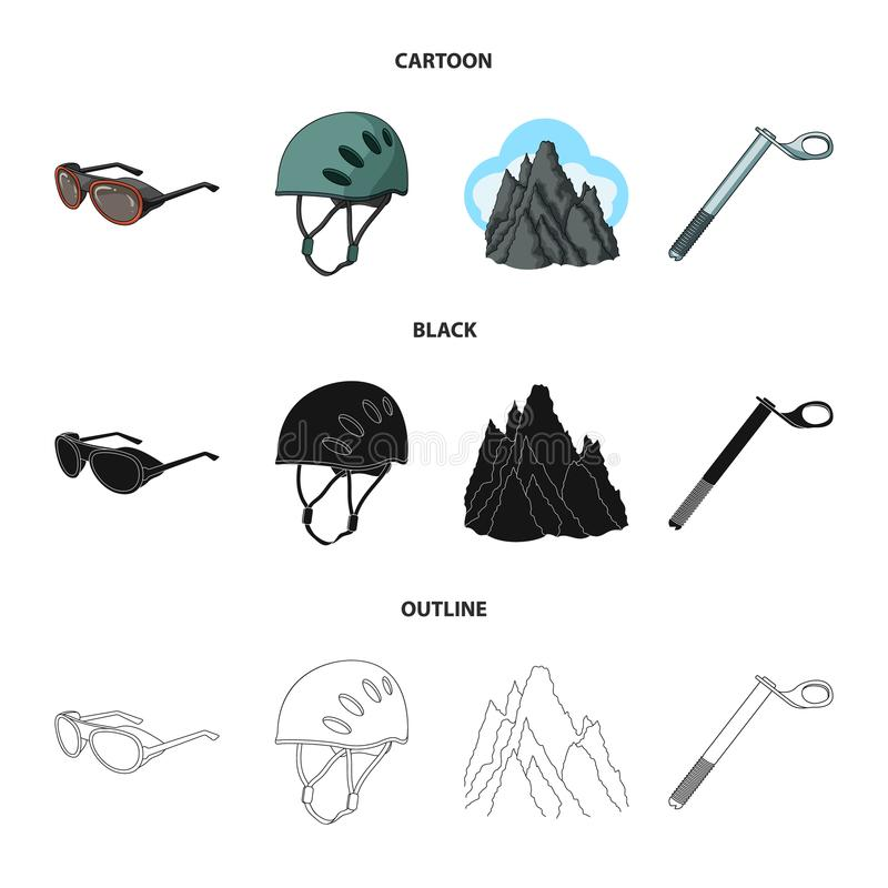 Hełm, gogle, klinu bezpieczeństwo, osiąga szczyt w chmurach Mountaineering ustalone inkasowe ikony w kreskówce, czerń, konturu st royalty ilustracja