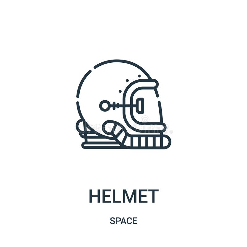 hełm ikony wektor od astronautycznej kolekcji Cienka kreskowa he?ma konturu ikony wektoru ilustracja ilustracji