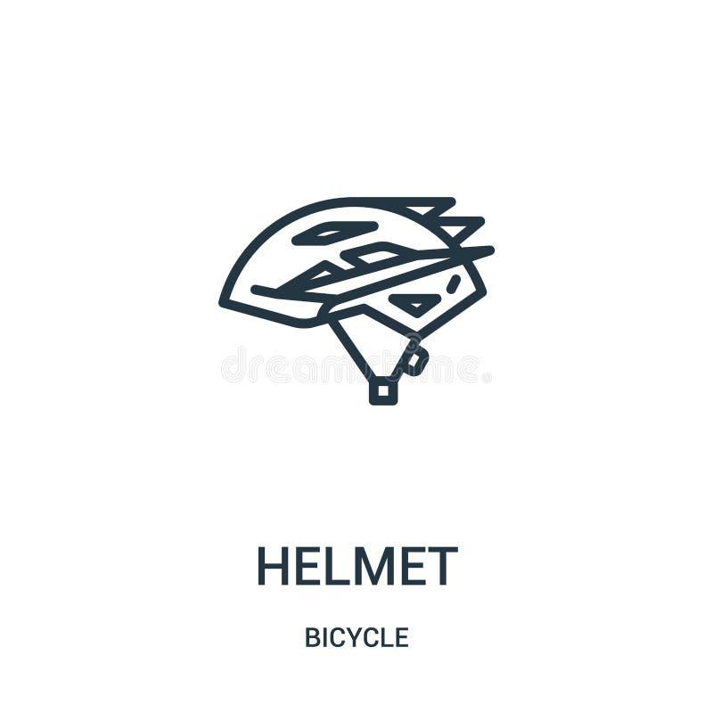 hełm ikony wektor od rowerowej kolekcji Cienka kreskowa hełma konturu ikony wektoru ilustracja Liniowy symbol dla używa na sieci  royalty ilustracja