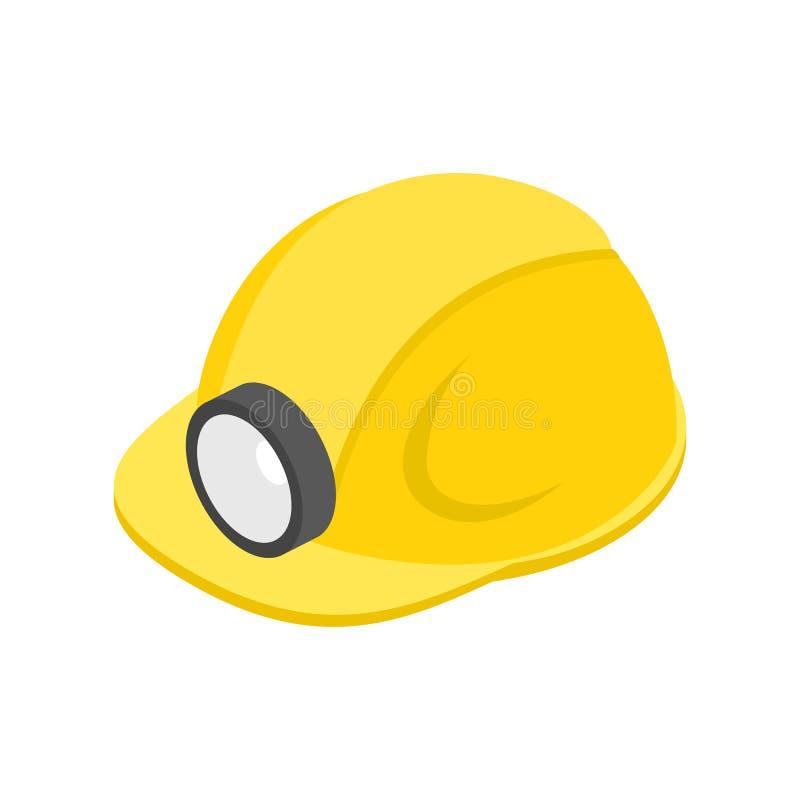 Hełm z latarki 3d isometric ikoną ilustracji