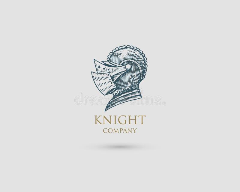 Hełma logo, średniowiecznego rycerza rocznika antykwarski symbol, grawerująca ręka rysująca w nakreśleniu lub drewna cięcia styl, ilustracja wektor