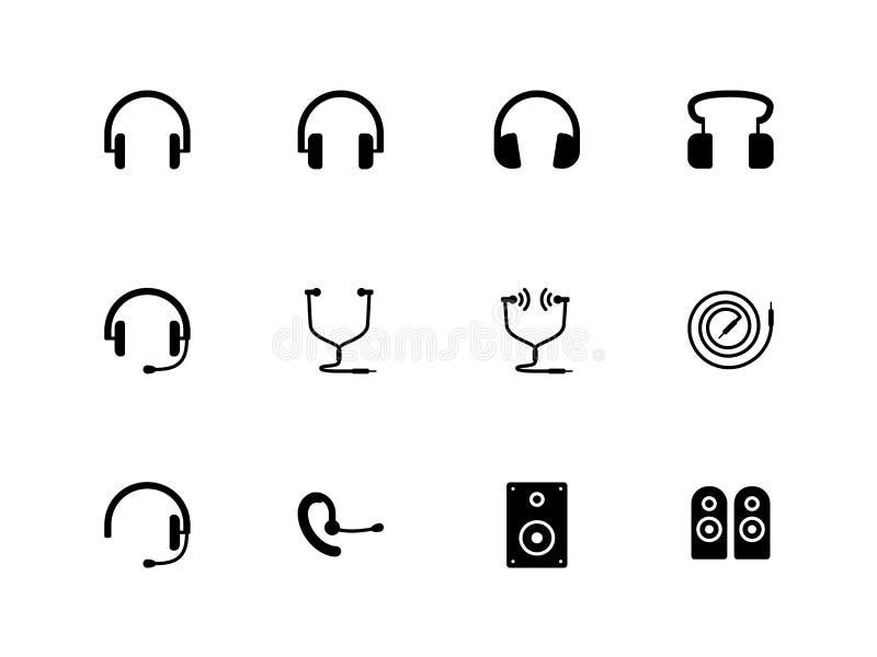 Hełmofonów i mówców ikony na białym tle. royalty ilustracja