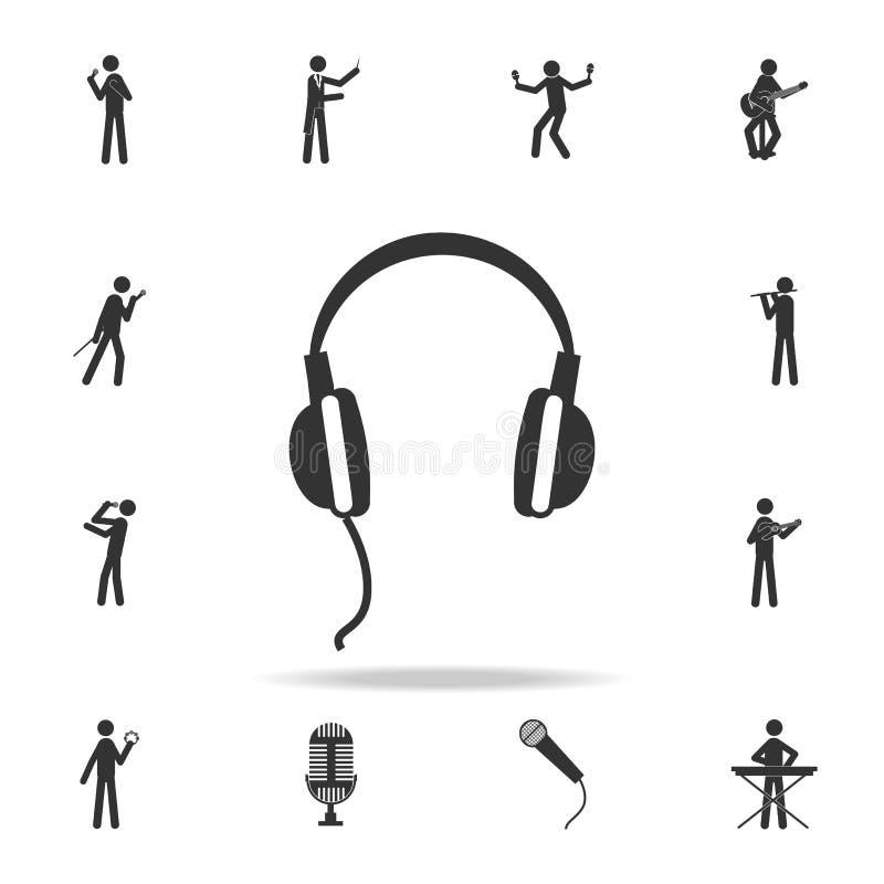 hełmofon ikona app Szczegółowy set muzyczne ikony Premii ilości graficzny projekt Jeden inkasowe ikony dla stron internetowych; s royalty ilustracja