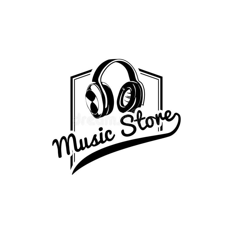Hełmofon ikona Muzyczny sklepu loga etykietki muzyki przyrząd wektor royalty ilustracja