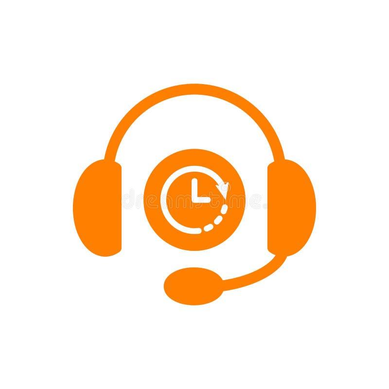 Hełmofon ikona, technologii ikona z zegaru znakiem Hełmofony ikona i odliczanie, ostateczny termin, rozkład, planistyczny symbol ilustracja wektor