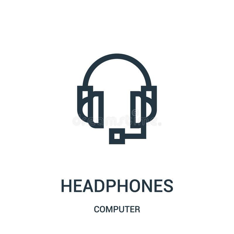 hełmofon ikony wektor od komputerowej kolekcji Cienka kreskowa hełmofonu konturu ikony wektoru ilustracja ilustracji