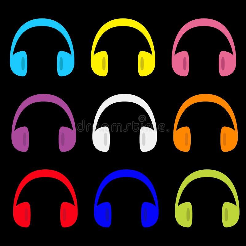 Hełmofon słuchawek ikony set Kolorowa sylwetka Muzyki karta Płaski projekta styl Biały tło odosobniony ilustracji