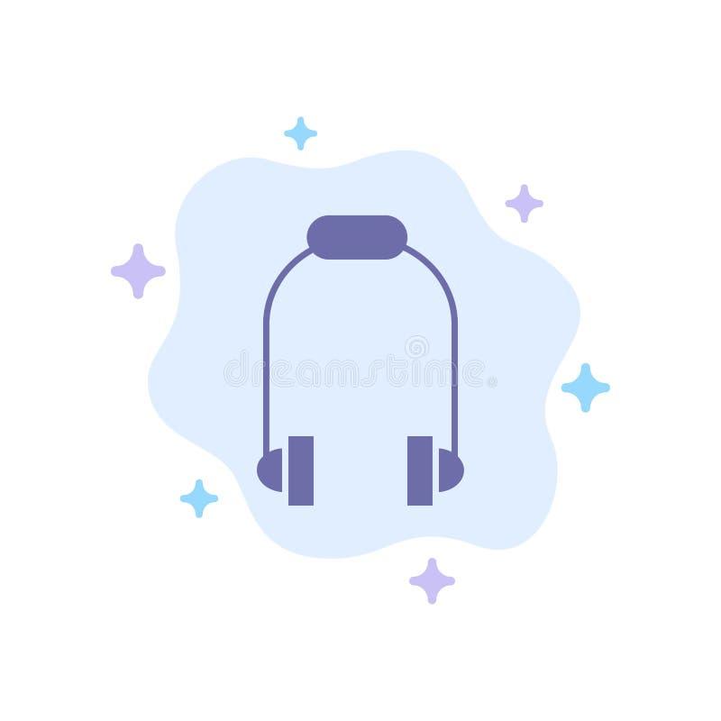 Hełmofon, słuchawka, telefon, Muzyczna Błękitna ikona na abstrakt chmury tle royalty ilustracja