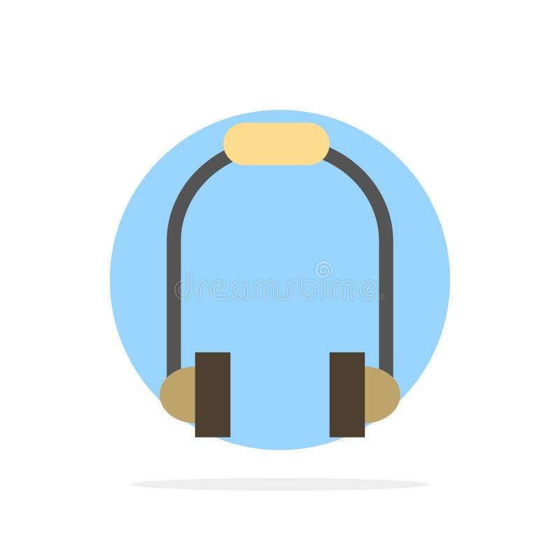 Hełmofon, słuchawka, telefon, Muzycznego Abstrakcjonistycznego okręgu tła koloru Płaska ikona royalty ilustracja