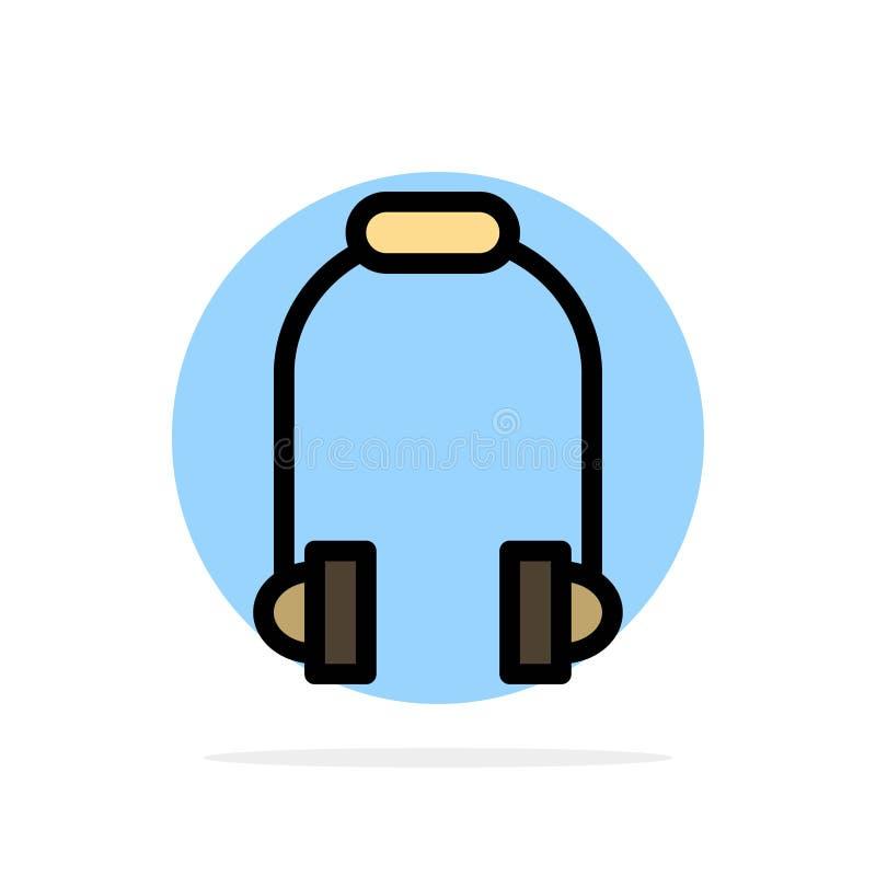 Hełmofon, słuchawka, telefon, Muzycznego Abstrakcjonistycznego okręgu tła koloru Płaska ikona ilustracja wektor