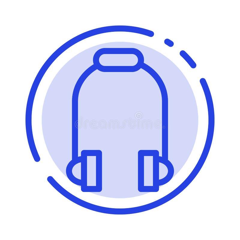 Hełmofon, słuchawka, telefon, Muzyczny błękit Kropkująca linii linii ikona ilustracji