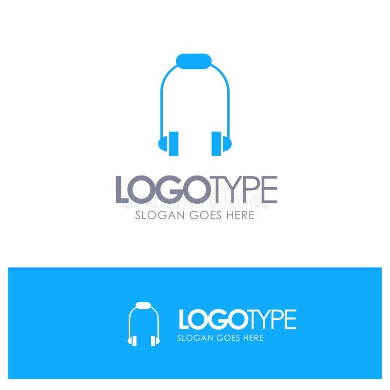 Hełmofon, słuchawka, telefon, Muzyczny Błękitny Stały logo z miejscem dla tagline royalty ilustracja