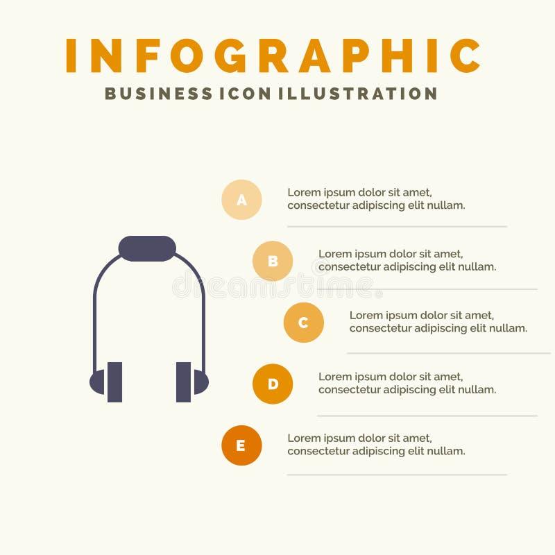 Hełmofon, słuchawka, telefon, Muzyczny Stały ikony Infographics 5 kroków prezentacji tło royalty ilustracja