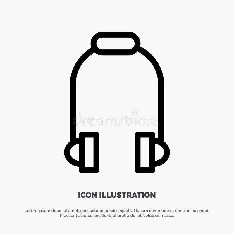Hełmofon, słuchawka, telefon, muzyki ikony Kreskowy wektor royalty ilustracja