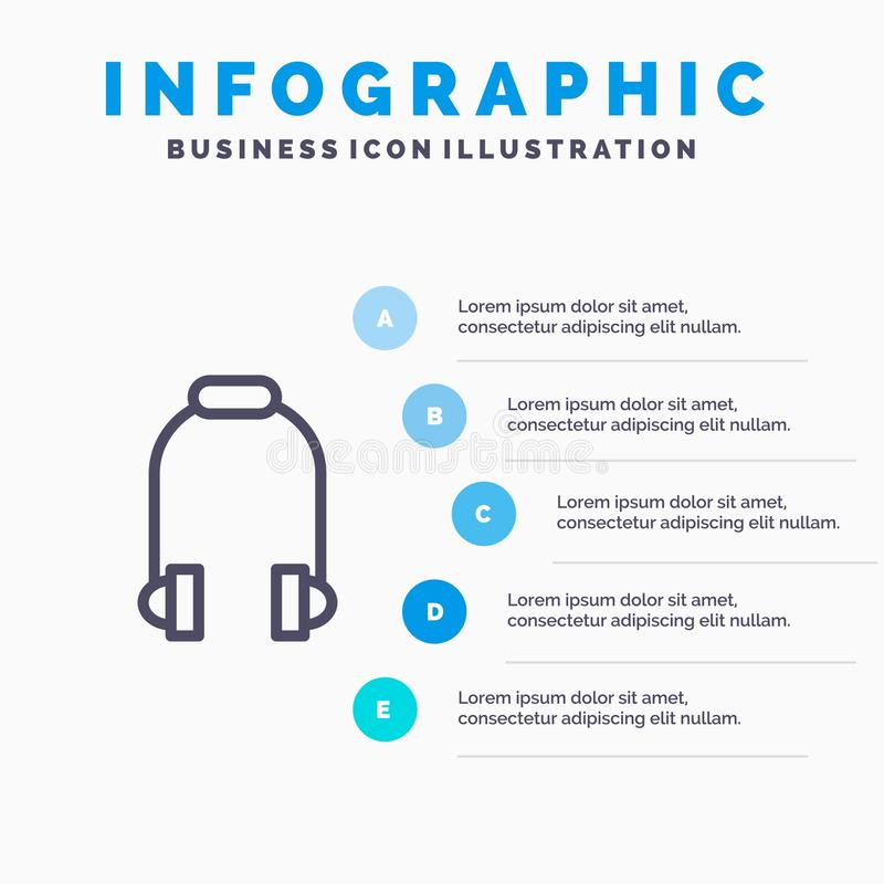 Hełmofon, słuchawka, telefon, muzyki Kreskowa ikona z 5 kroków prezentacji infographics tłem royalty ilustracja
