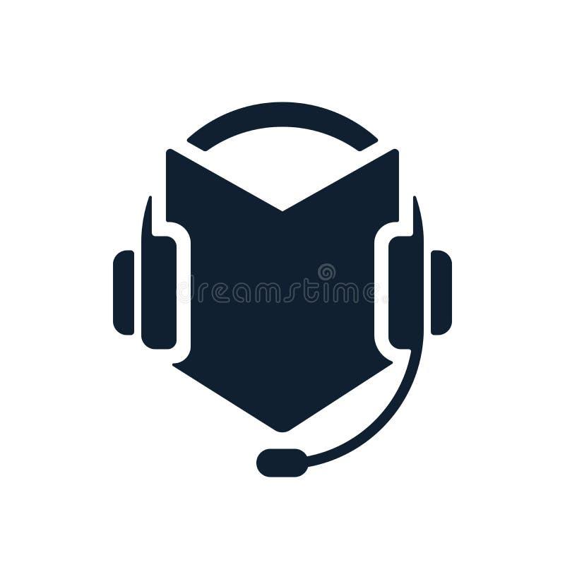 Hełmofony i audio książkowa ikona ilustracja wektor