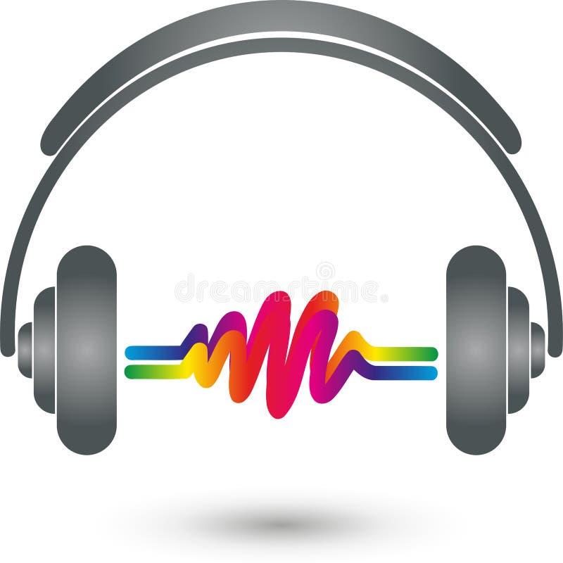 Hełmofony i logo fala, muzyki i dźwięka, ilustracja wektor