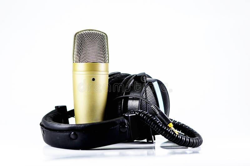 Hełmofony i mikrofon zdjęcie stock