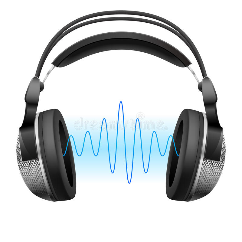 Hełmofony i muzyki fala. ilustracji