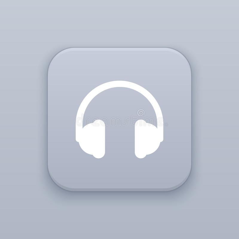 Hełmofony, słuchawka, szary wektorowy guzik z białą ikoną ilustracji