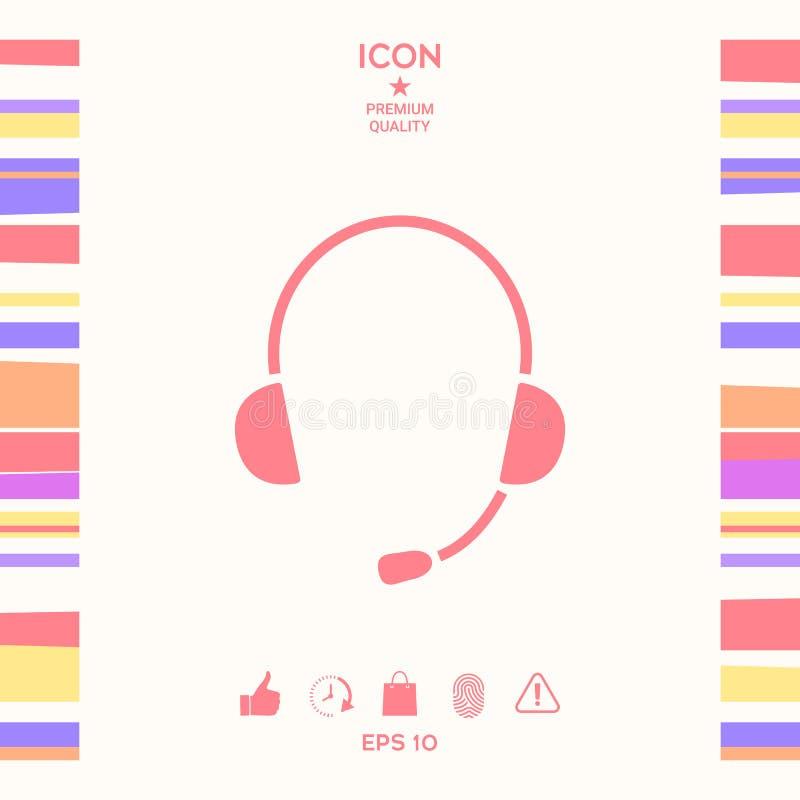 Hełmofony z mikrofon ikoną ilustracji