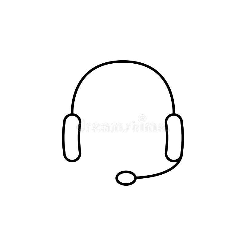 Hełmofony z mikrofon ikoną Element prosta ikona dla stron internetowych, sieć projekt, wisząca ozdoba app, ewidencyjne grafika Ci ilustracji