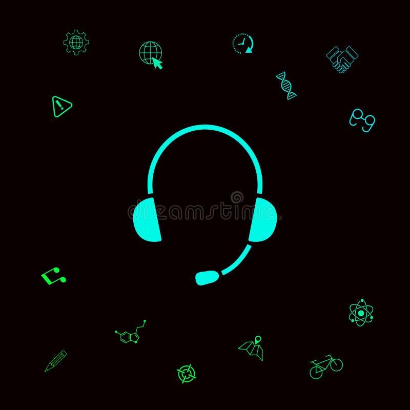 Hełmofony z mikrofon ikoną Graficzni elementy dla twój designt royalty ilustracja
