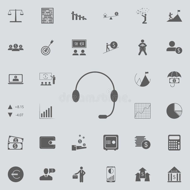 Hełmofony z mikrofon ikoną Szczegółowy set Finansowe ikony Premii ilości graficznego projekta znak Jeden inkasowe ikony f ilustracja wektor