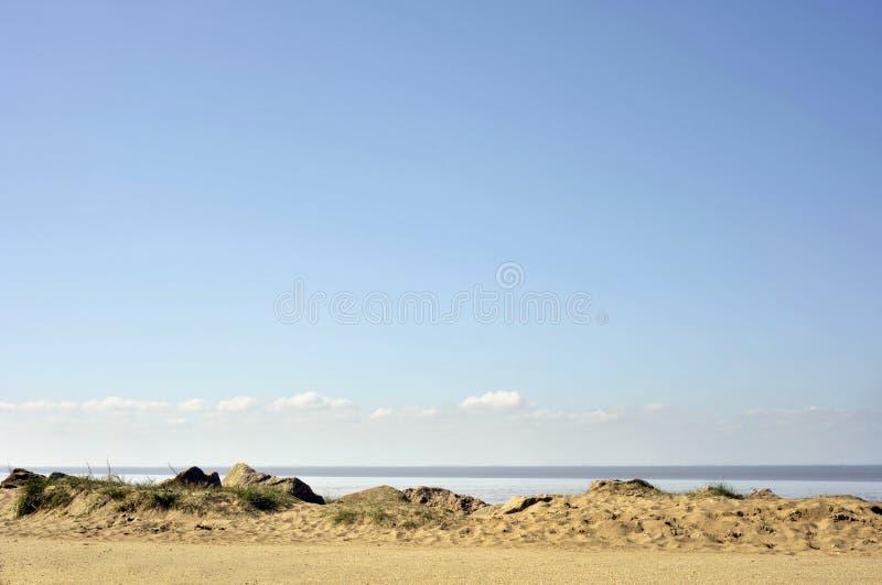 Heacham. Sandy beach and foreshore seaside landscape at Heacham on the Norfolk coast stock images