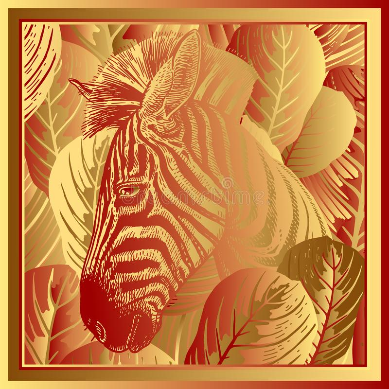 Free Head African Zebra Close-up And Striped Tropical Leaves. Print G Stock Photography - 134012722