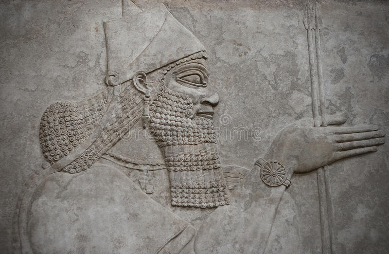 Head of an ancient assyrian warrior stock image