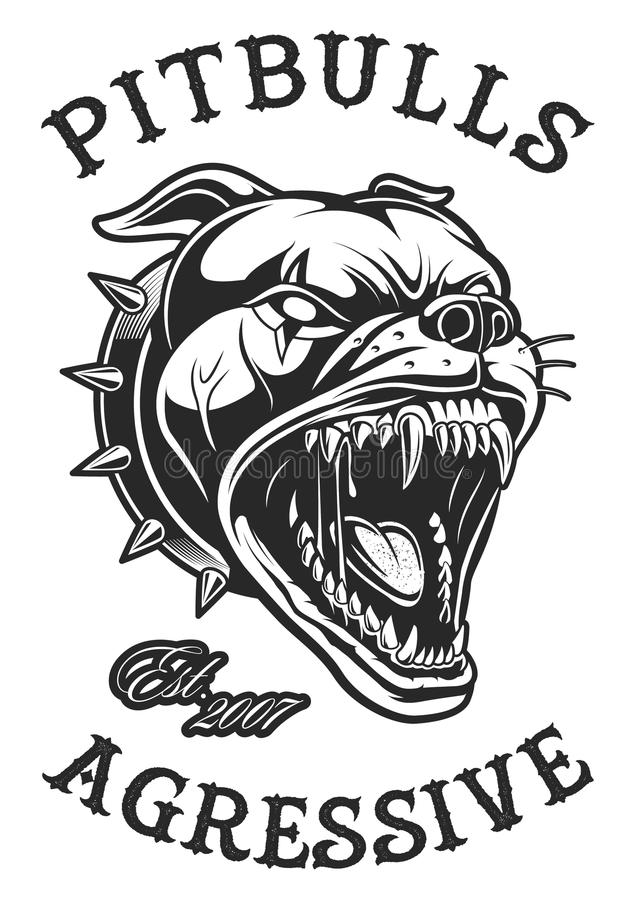 Head of angry pit bull stock illustration