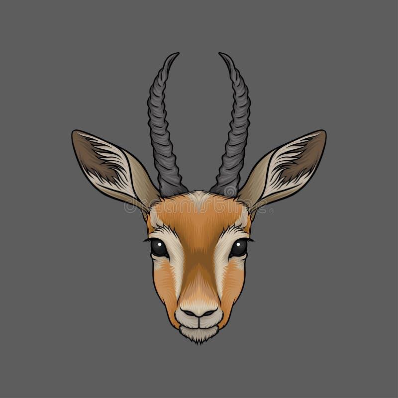 Head of antelope, portrait of wild animal hand drawn vector Illustration vector illustration