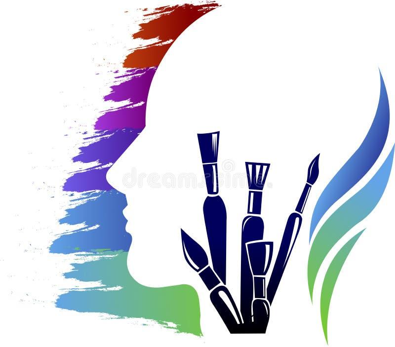 Head art think logo vector illustration