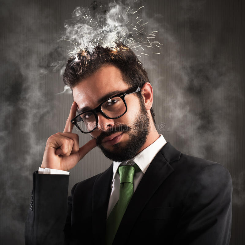 Head as electrical system shorted stock photo