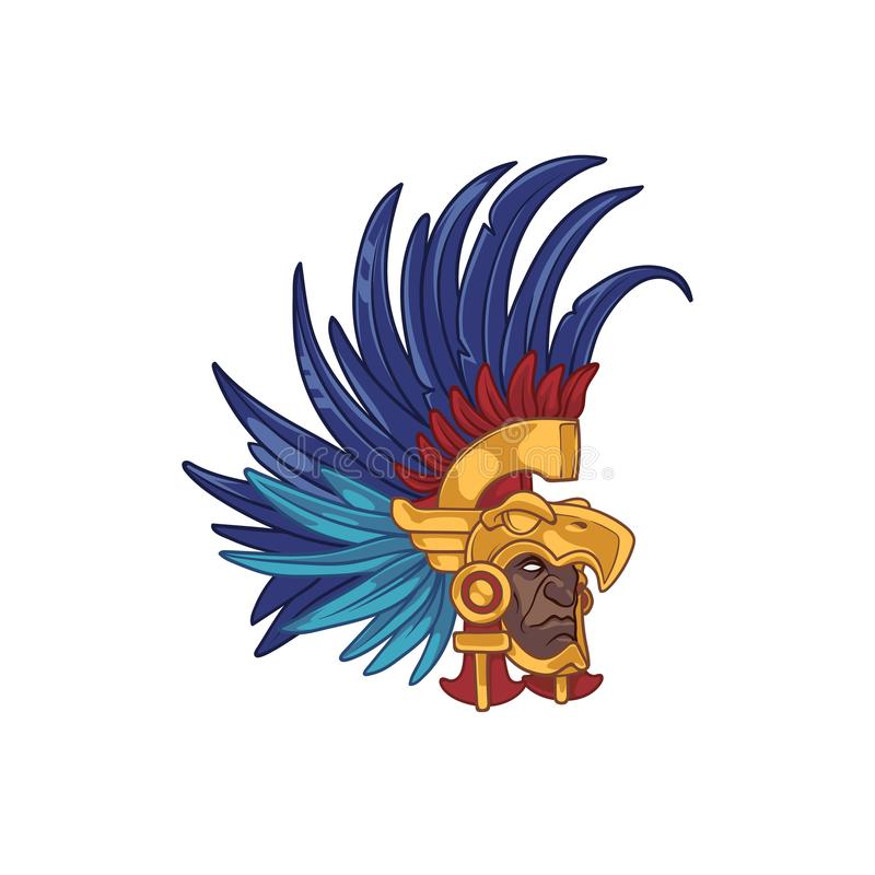 Head Of An Aztec Elite Warrior Wearing A Helmet In Form Of An Eagle With Colorful Feathers Stock Vector Illustration Of Native Eagle 139254992